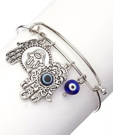Look at this #zulilyfind! Silver Hamsa & Evil Eye Charm Bracelet #zulilyfinds