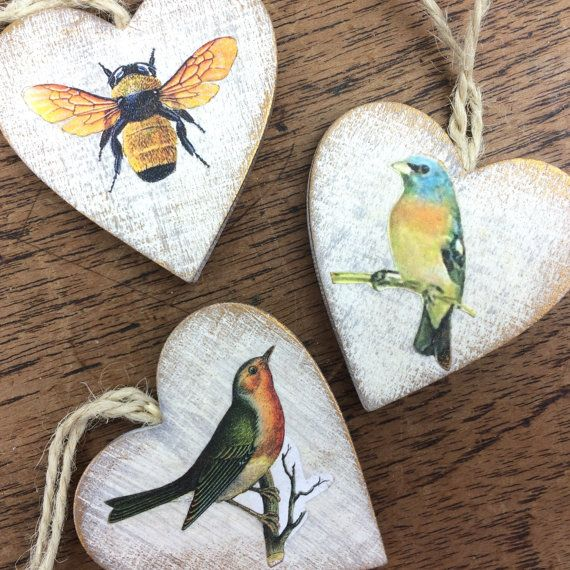 wooden heart vintage style hanging decorations by GilbertandCrick