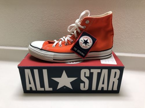 9c9b5d82719b CONVERSE ALL STAR MADE IN USA 9.5 ORANGE VINTAGE 90S DEADSTOCK CHUCK TAYLOR