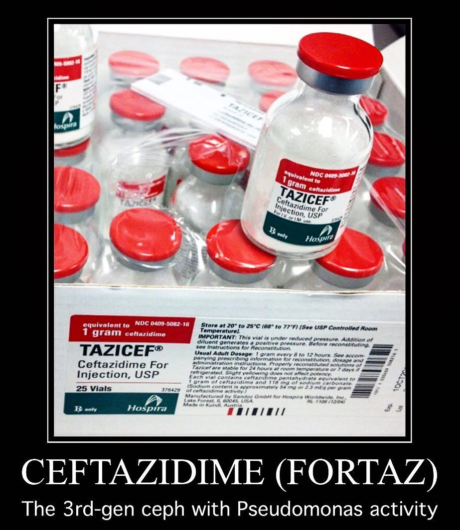This Is Ceftazidime Aka Fortaz A Third Generation Cephalosporin And Beta Lactam Antibiotic It Works By Binding To Penic Cell Wall Penicillin Antibiotic