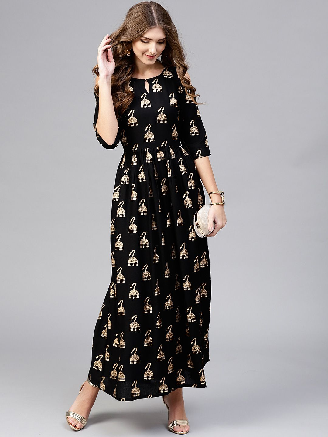 edfa9a7b8d Libas Women Black & Golden Block Print Maxi Dress - Dresses for Women  7719007 | Myntra #dress #dresses #dressesforwomen #maxidress  #maxidressessummer ...