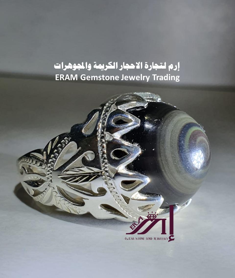 خاتم عقيق يمني العين الملكية صياغة حجازي مميز طبيعي100 Agate للعرض Sci Fi Art Sci Fi Spaceship