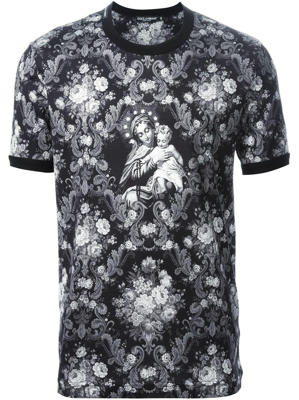 444e3eb7dd7e Dolce & gabbana Virgin Mary and Baby Jesus Print Cotton T-Shirt ...