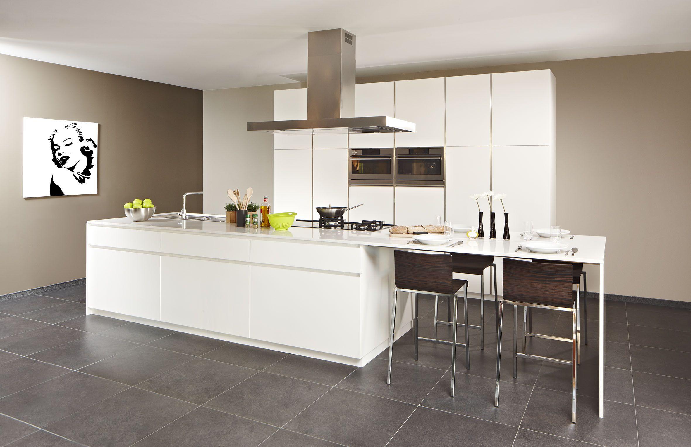 Moderne opstelling van de keuken waarvan het werkblad naadloos