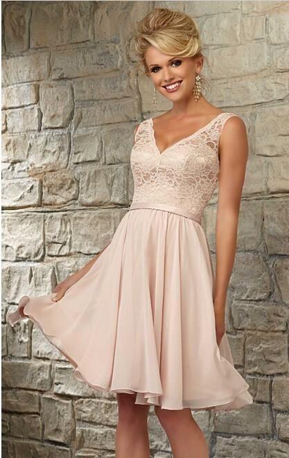 Blush Colored Bridesmaid Dress Knee Length