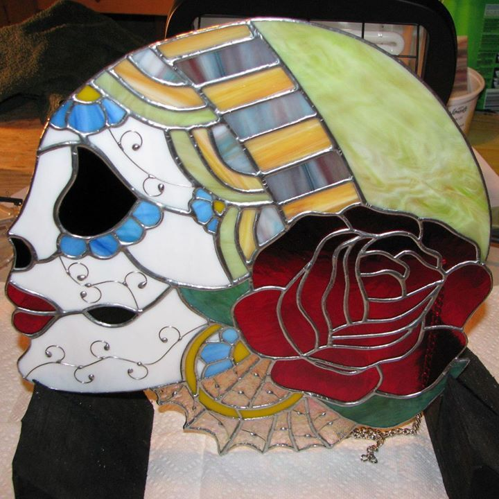 Decorated skull by Wendy's Stained Glass https://www.facebook.com/WendysStainedGlass