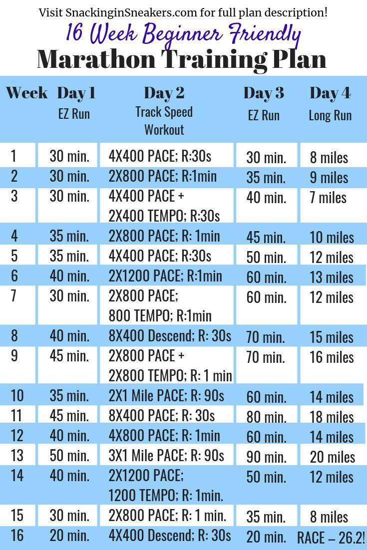 16 Week Marathon Training Schedule (Beginner-Friendly!)