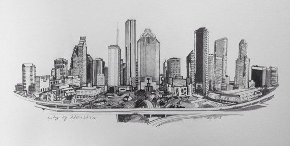 City Of Houston Skyline Pencil Drawing By Linebymadeline On Etsy Houston Skyline Skyline Drawing City Drawing