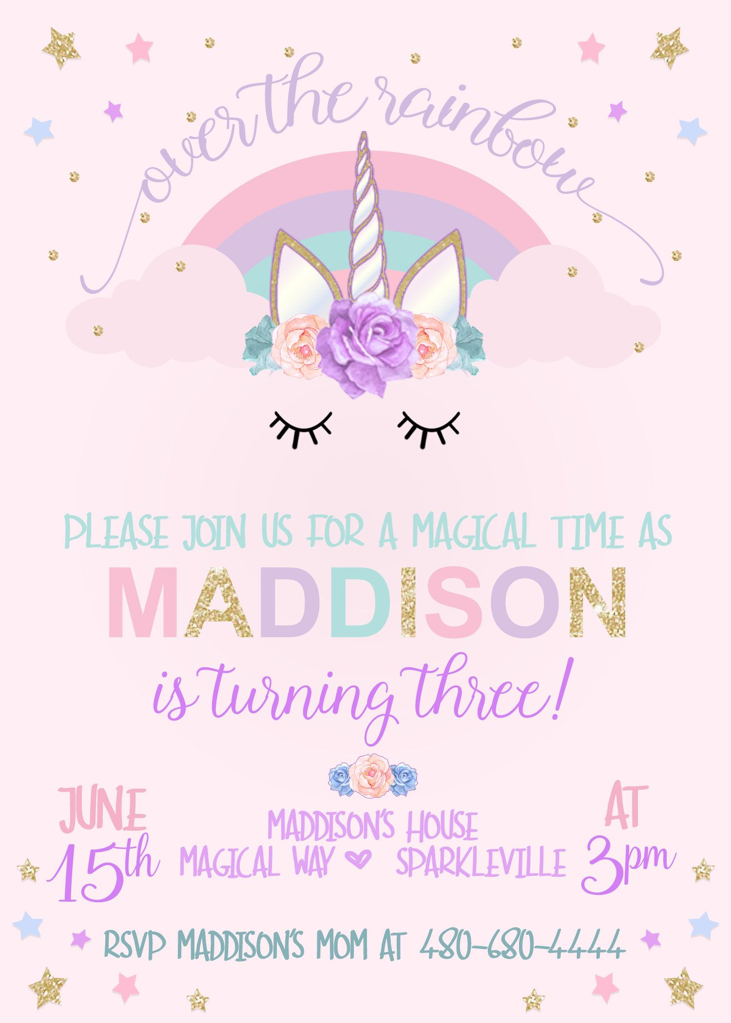 PRINTABLE Unicorn Invitation Party 4th Birthday Parties 7th For Girls Themes