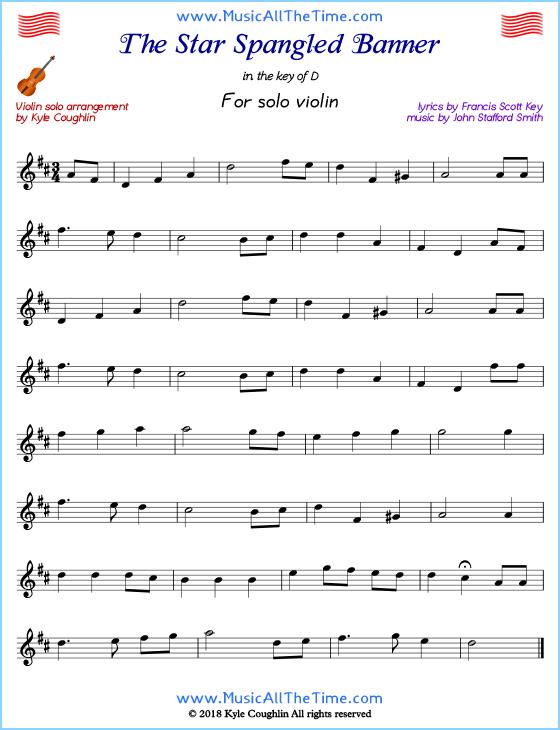The Star Spangled Banner For Solo Violin Free Printable Pdf Violinmusic Violinsheetmusic Frees Clarinet Sheet Music Violin Sheet Music Trumpet Sheet Music