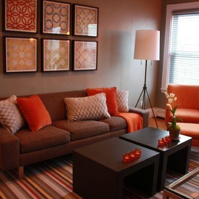 Living Room Brown And Orange Design, Pictures, Remodel ...