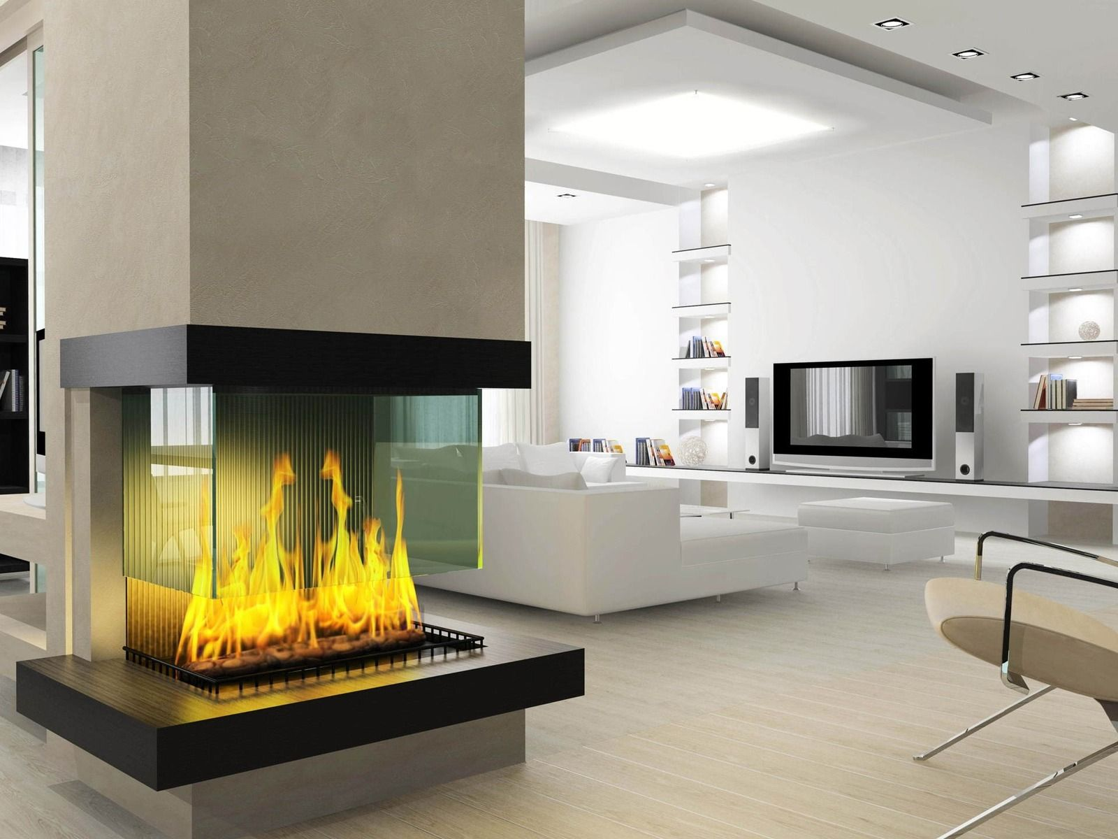 Open fireplace design stands center stage in this modern home ...