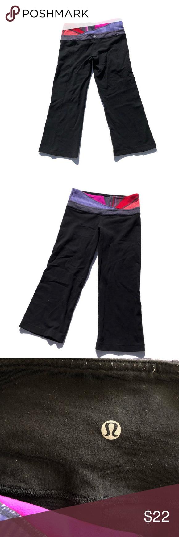 "Lululemon wide leg crop pants Good condition older Lululemon wide leg yoga capris. Multi color waistband. 19.5"" inseam. #1192 lululemon athletica Pants Capris"