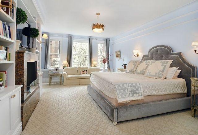 Wandfarben Himmelblau Graues Bett, Beige