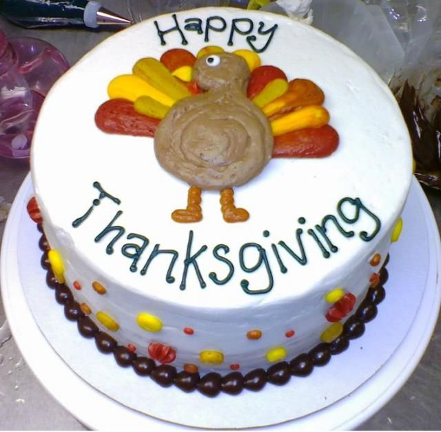 White Thanksgiving Turkey Cake With Colorful Decor Jpg With