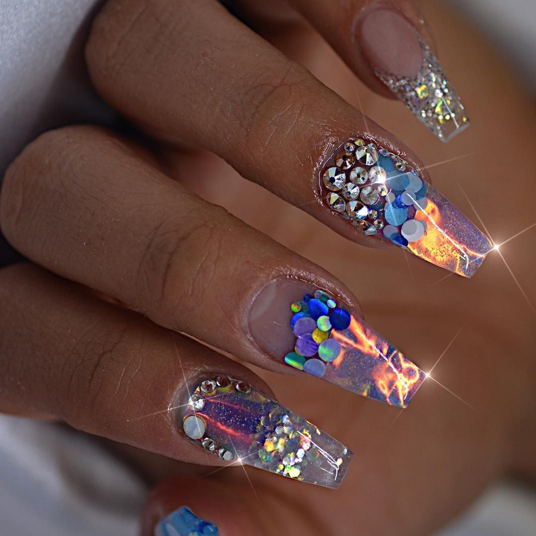 27 Lovely And Extravagant Clear Nail Designs | Clear nail designs ...