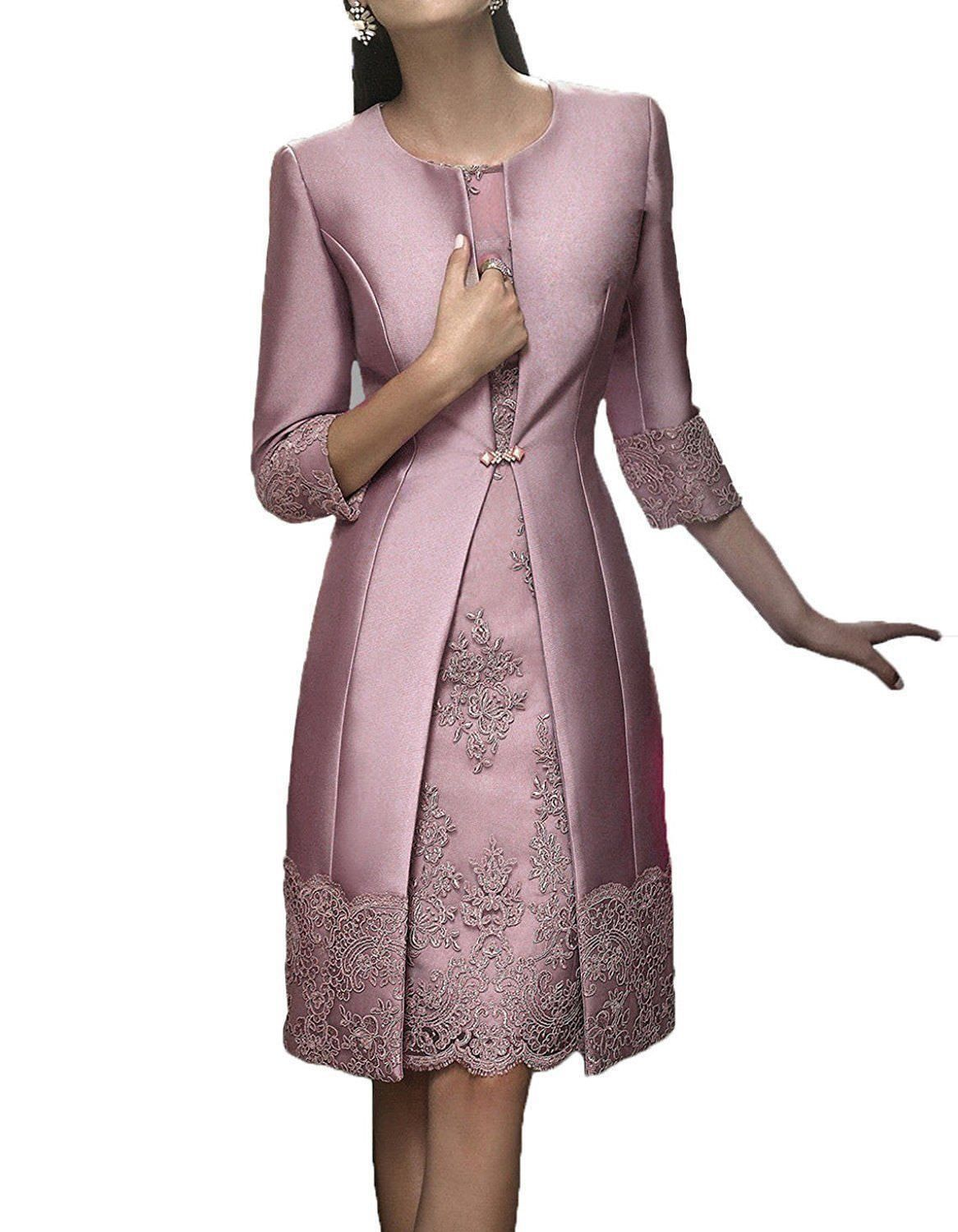 Wedding dress and jacket for guest   Knee Length Mother of the Bride Dress Jacket Lace Satin Wedding