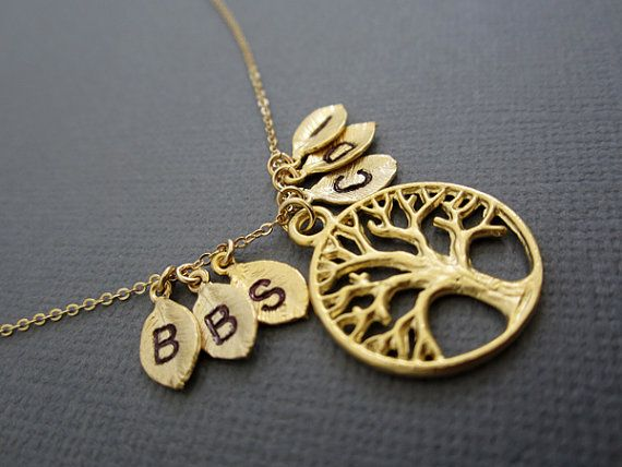 Tree of life Vermeil pendant Necklace with 6 initial by Muse411, $51.00