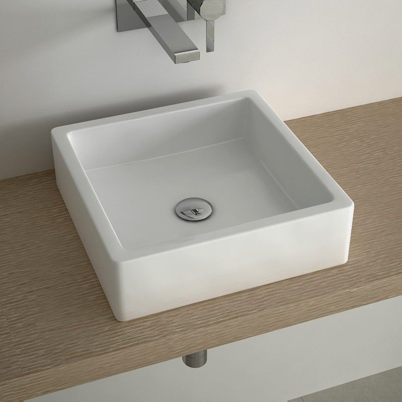 Vasque à poser carrée 40x40 cm céramique, Pure Euro