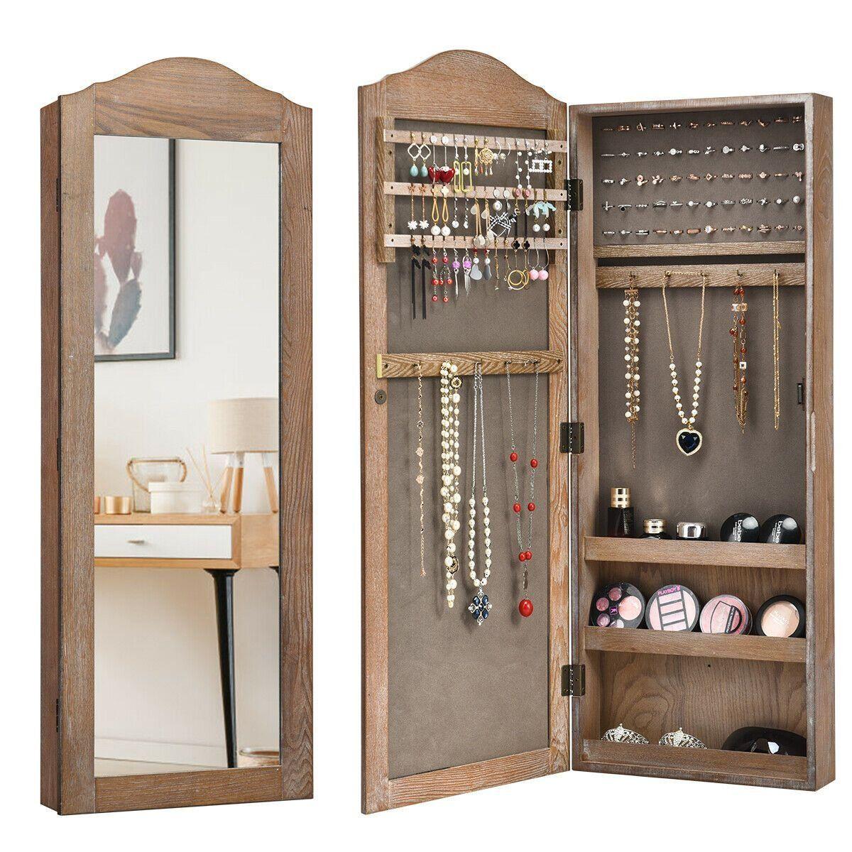 Gymax Mirrored Jewelry Armoire Storage Organizer