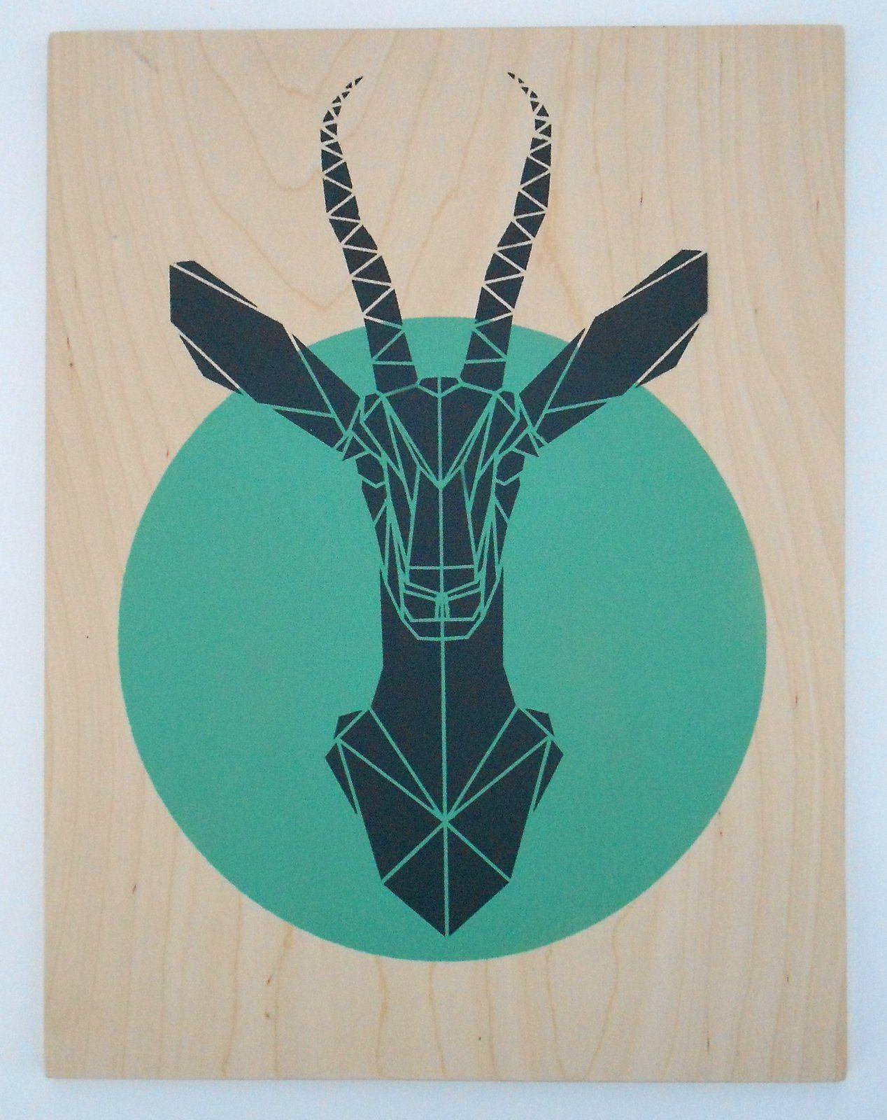 Gazelle Stencil Art Aqua Print Geometric Spray Paint On