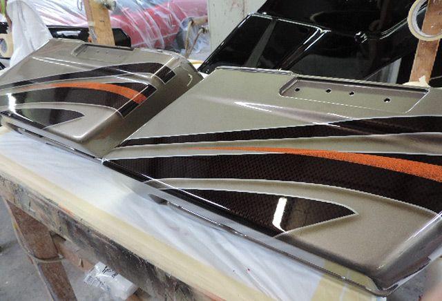 Custom Matched Paint Job Carbon Fiber Effect Ghost Marble On Basecoat Orange Splash Stripe Custom Matched Custom Paint Motorcycle Custom Matches Paint Job