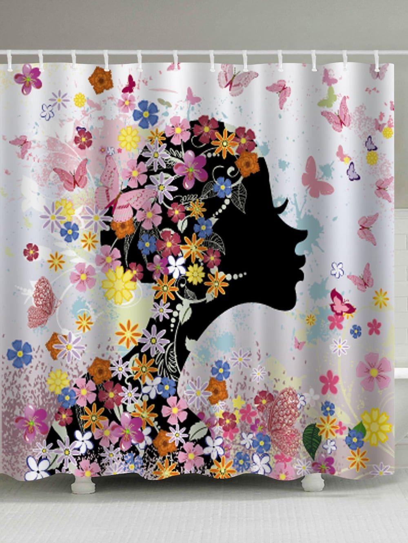 Butterfly Floral Girl Print Waterproof Bathroom Shower Curtain