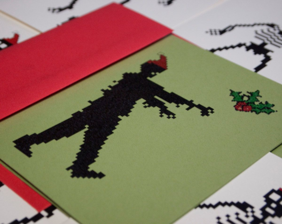 Zombie Santa holiday cards set of 4, 8 bit zombies christmas cards ...