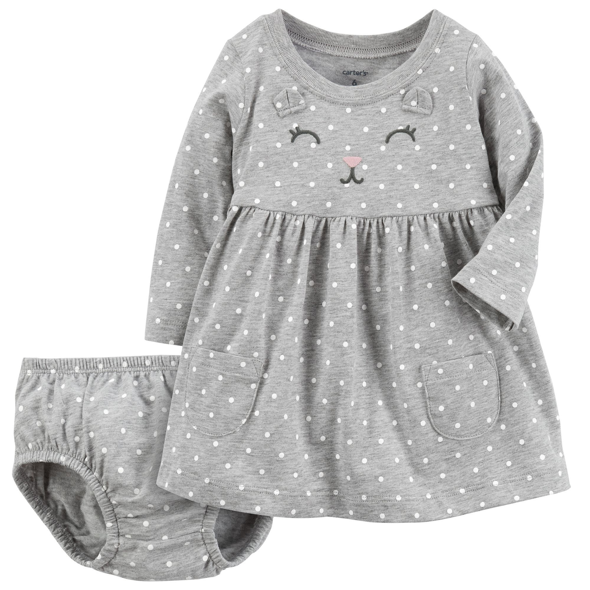 30f6c81dc8 Baby Girl Carter's Gray Cat Dress | Products | Carters baby girl ...