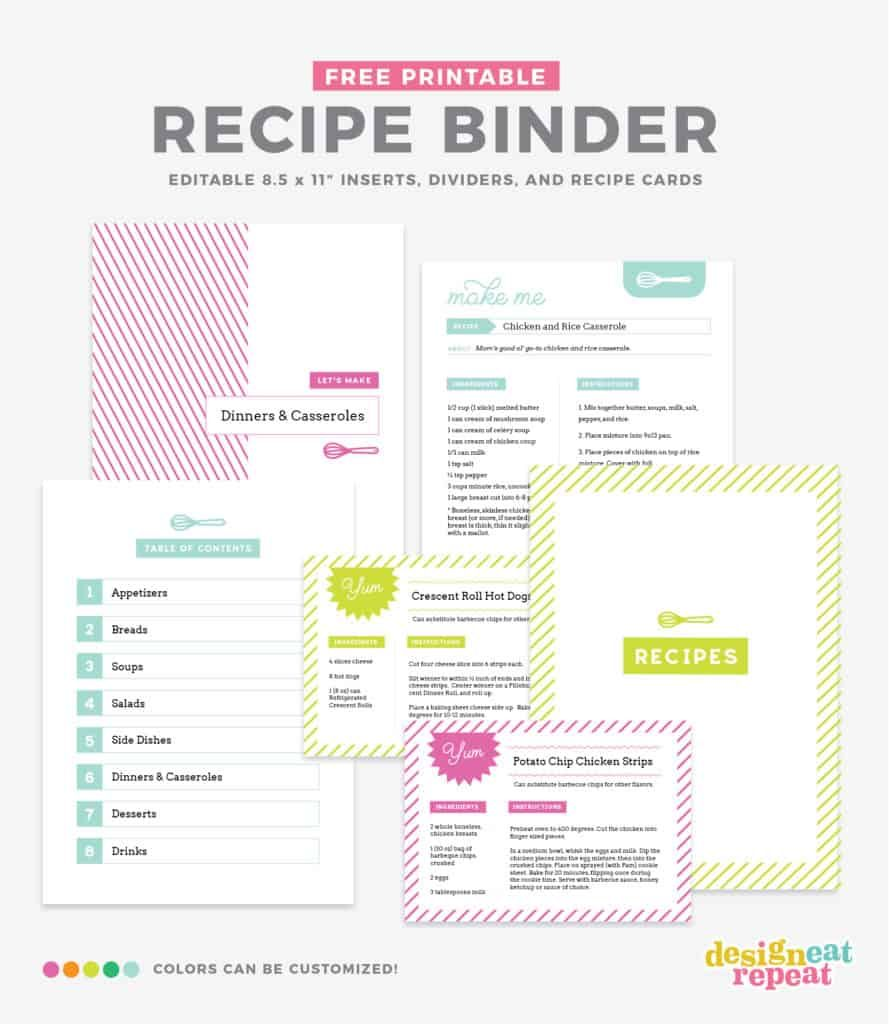 Organize Your Favorite Recipes Into A Diy Recipe Book With These Fun And Free Printable Recipe Bin Recipe Book Templates Recipe Binder Template Recipe Book Diy