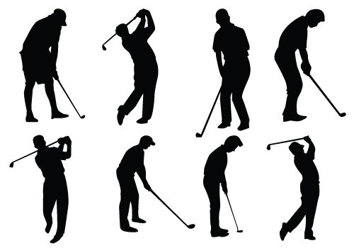Female Golfer Silhouette Vector Silhouette Clip Art Silhouette