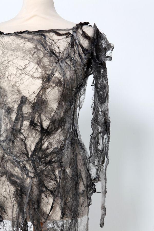 Grey Silk Fibre Dress - creative textiles surface design exploring the idea of impermanence - textiles for fashion // Shirley Buchan