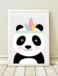 Plakat Miś Obrazek Skandynawski Panda Grafika A4 Black Dot