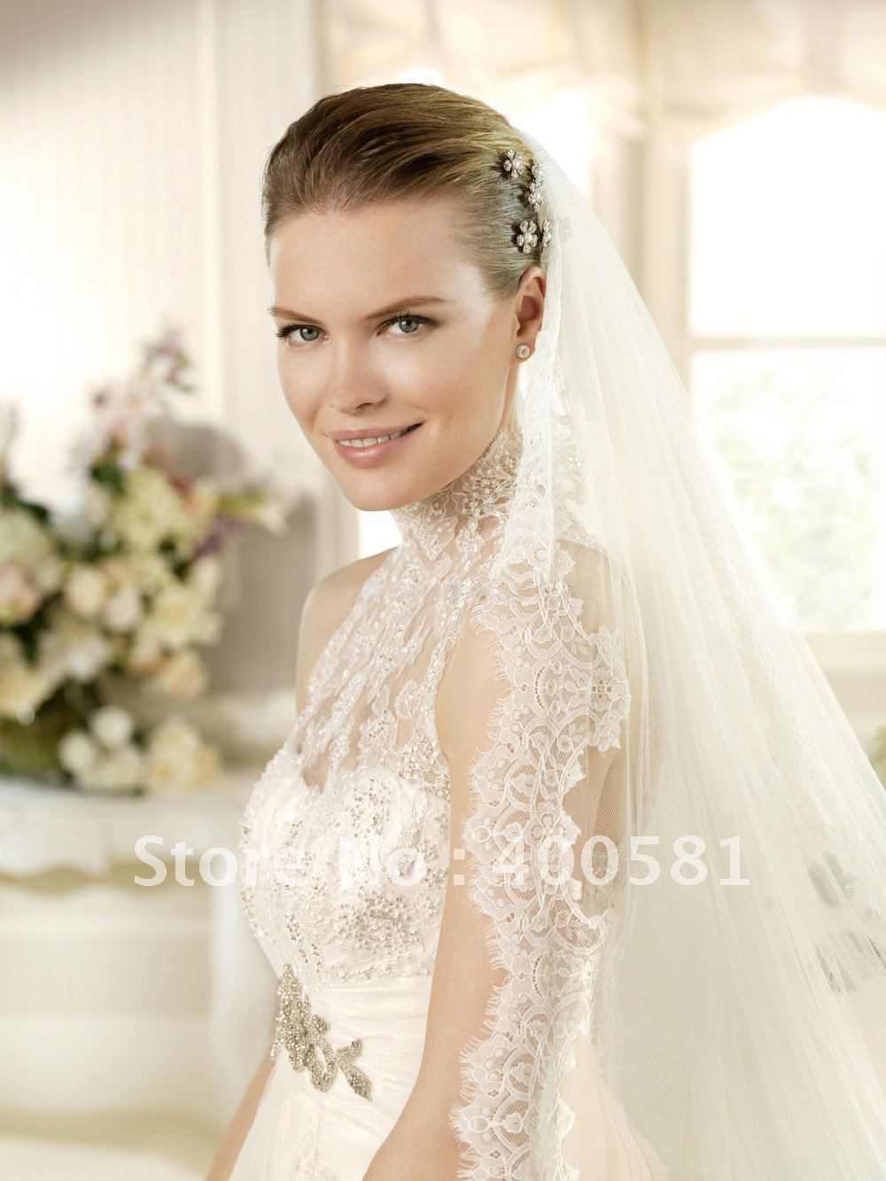 high neck wedding dress High Neck Lace Mermaid Wedding Dress High neck wedding dress