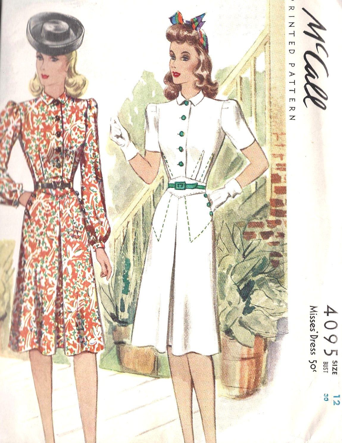 1940s Misses\' Dress Vintage Sewing Pattern McCall 4095 Bust 30 ...