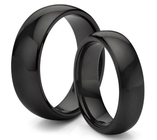His U0026 Heru0027s Tungsten Carbide Classic Polished Black Wedding Band Ring Set  (Available Sizes Including Half Sizes)