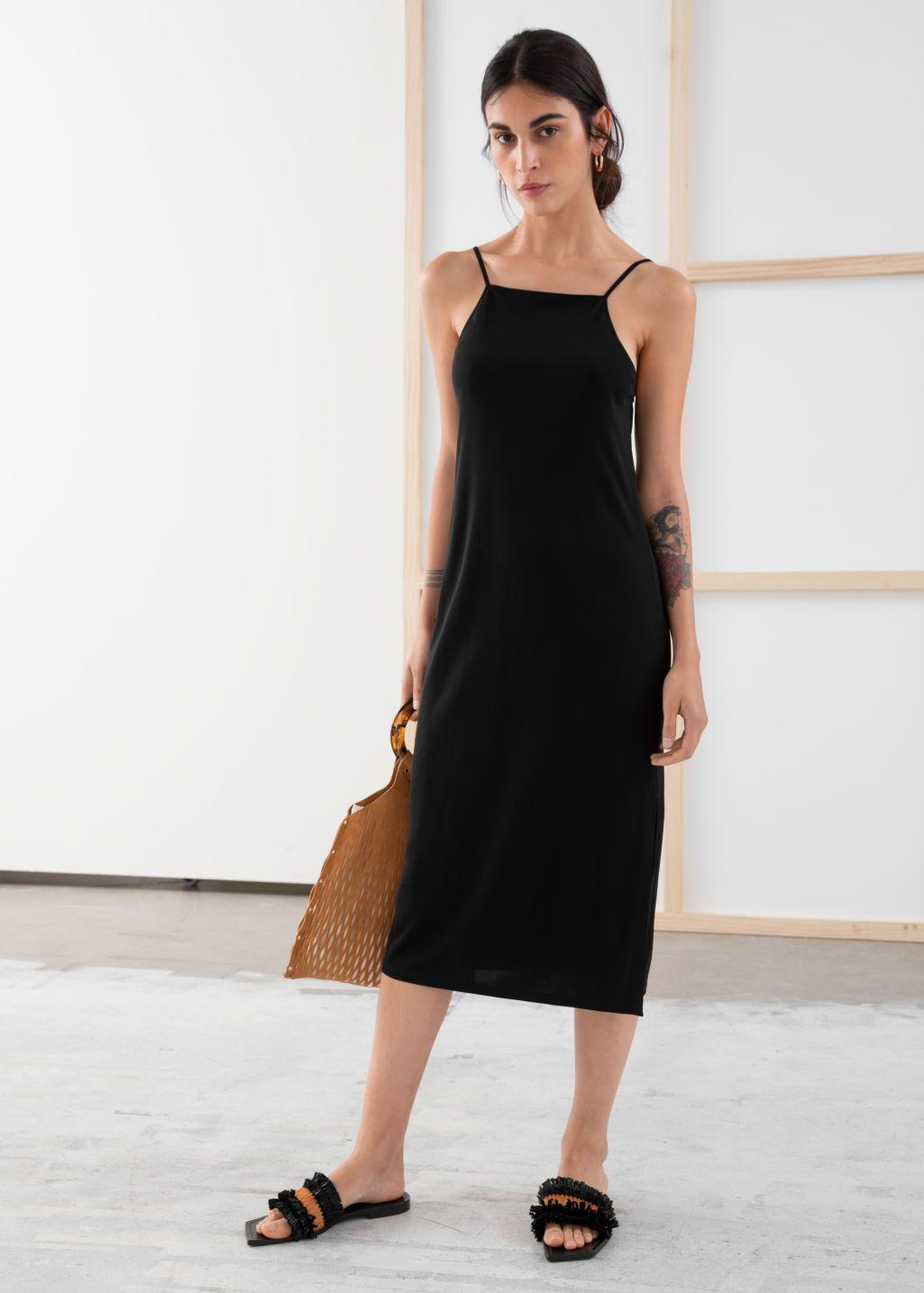 Square Neck Midi Slip Dress Slip Dress Midi Slip Dress Dresses [ 1435 x 1025 Pixel ]