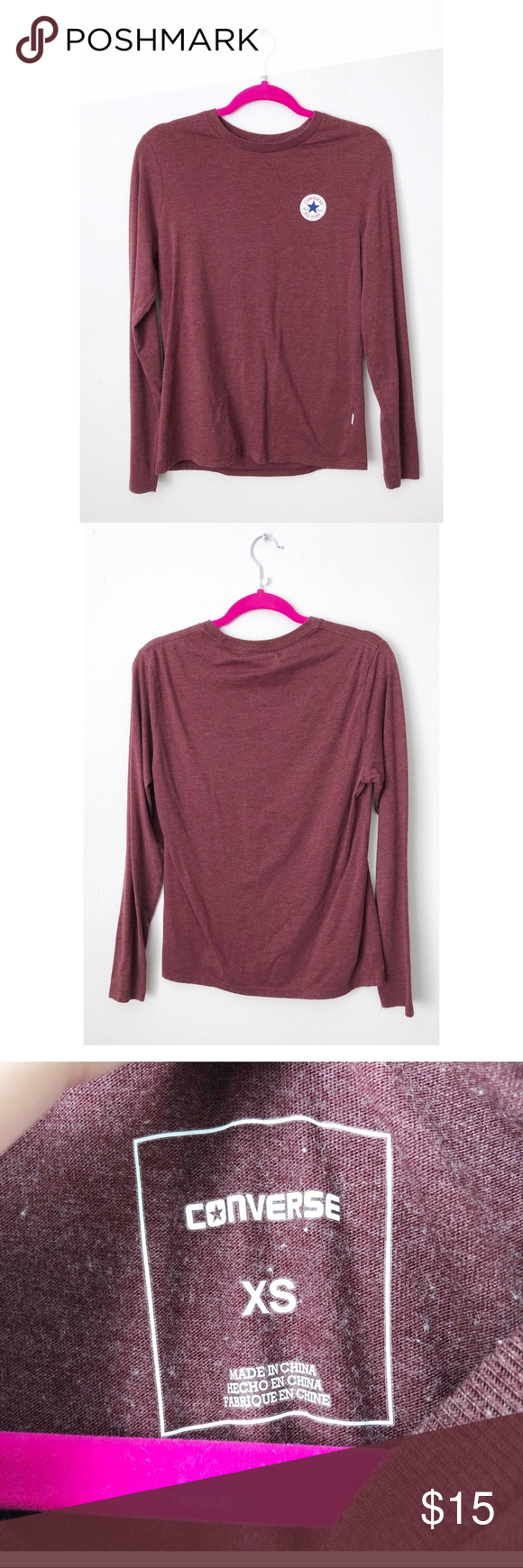 de9cb535d72b Maroon converse long sleeve A maroon core patch converse long sleeve. It is  a men s xs but can also be worn by women if you prefer a slightly bigger  fit.