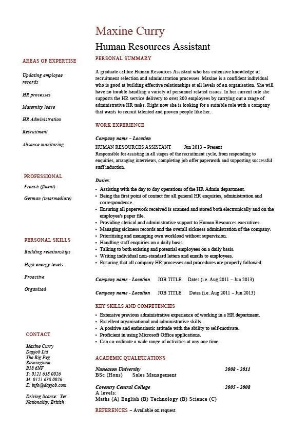 Human Resources Assistant resume, HR, example, sample, employment - resume name examples