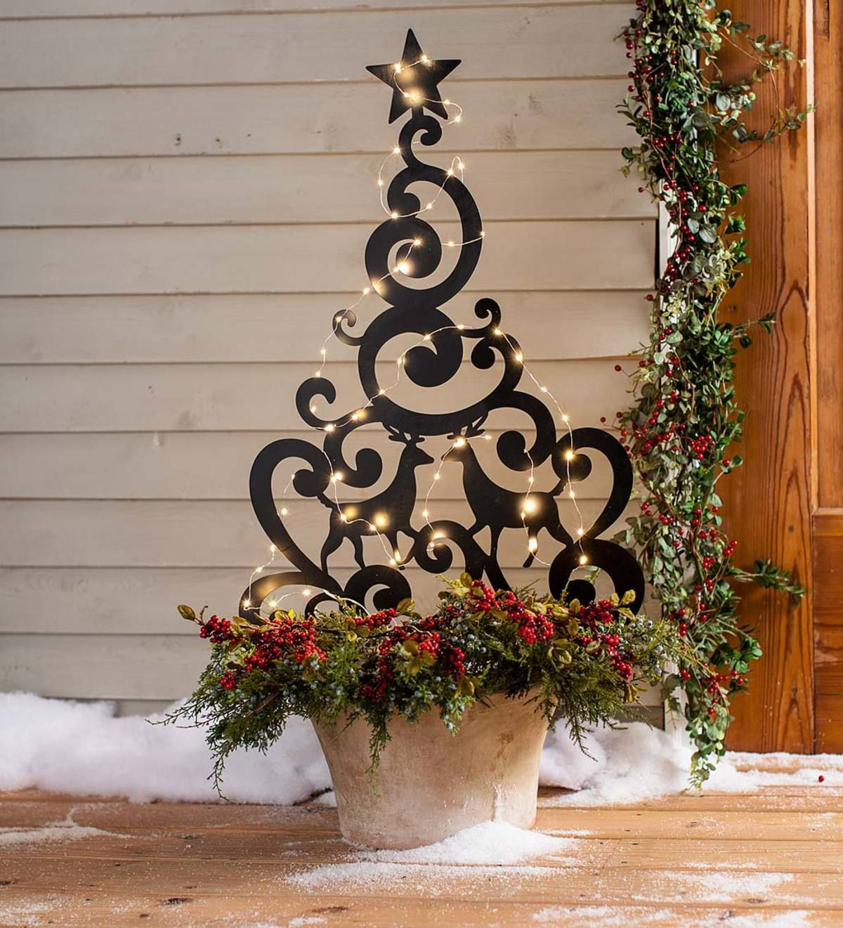 Metal Holiday Tree Stake With Deer Outdoor Holiday Decor Outdoor Christmas Decorations Christmas Tree Decorations
