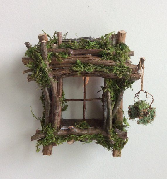 Fairy Window with Delicate Twinkling Light ~ Handcrafted by Olive Fairy Accessories, Fairy House, Fairy Door#accessories #delicate #door #fairy #handcrafted #house #light #olive #twinkling #window
