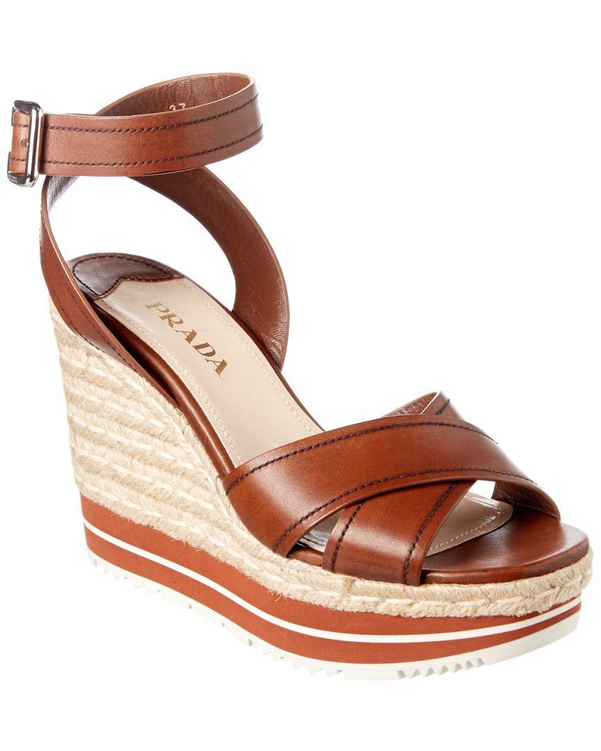 b7e83986478 Prada Espadrille Wedge Leather Sandal is on Rue. Shop it now. | Girl ...