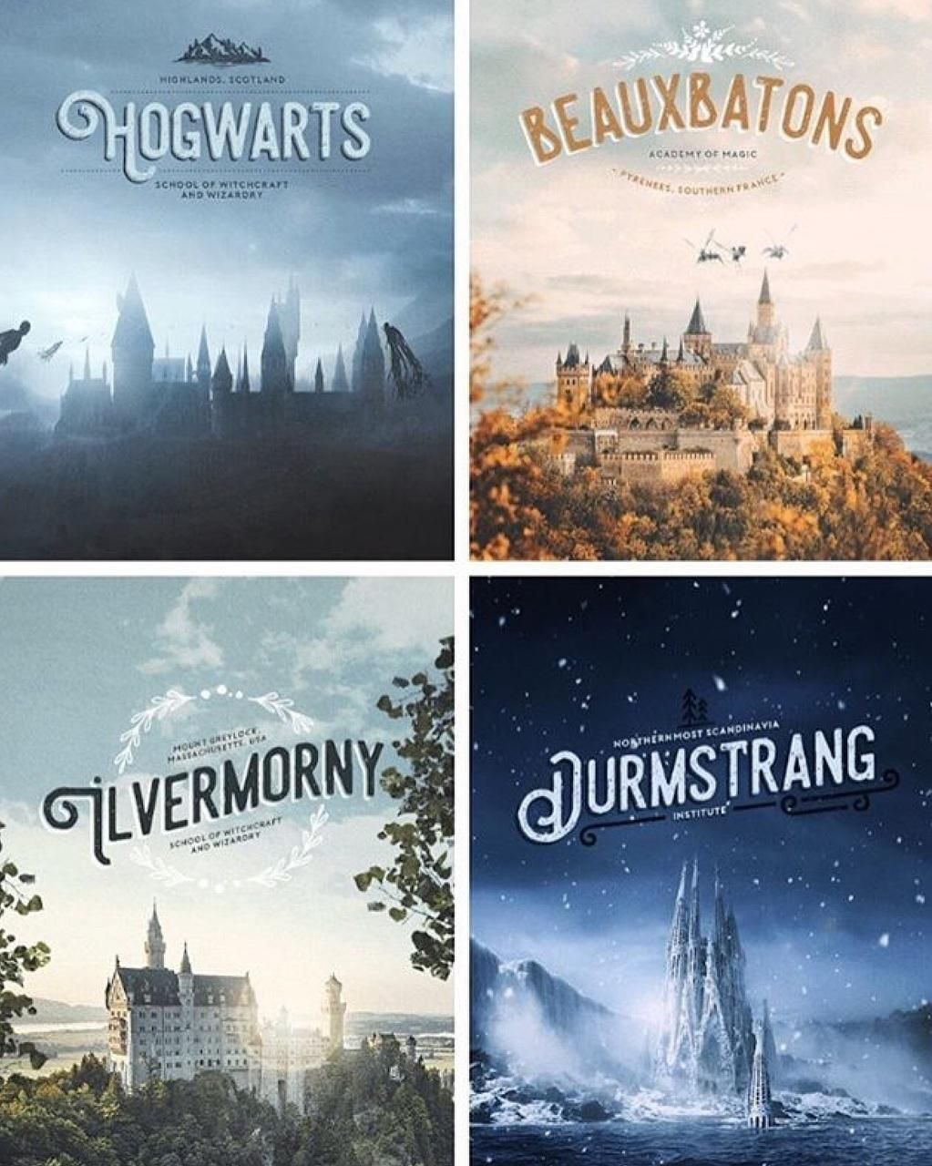 Hogwarts Beauxbatons Ilvermorny Durmstrang Harry Potter Series Harry Potter Universal Harry Potter Obsession Why when i see hogwarts and that french one taking our students away and go on without. hogwarts beauxbatons ilvermorny