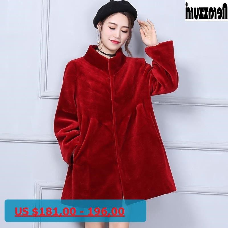 305d05f89fc Nerazzurri Real Fur Coat Plus Size 5xl 6xl Red Black Pleated Thick Warm  Wool Coat Winter