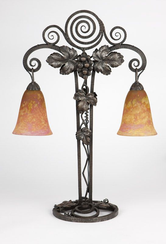 Art Deco Glass Wrought Iron Table Lamp The Base Circa 1920 Cast