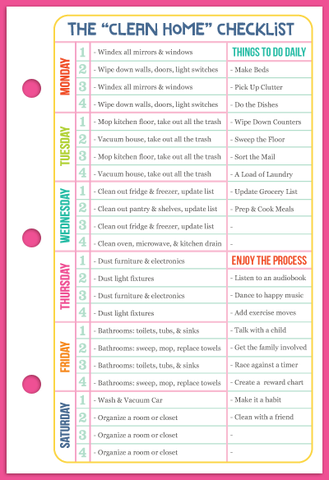 """Section: Time Management - The """"Clean Home"""" Checklist"""