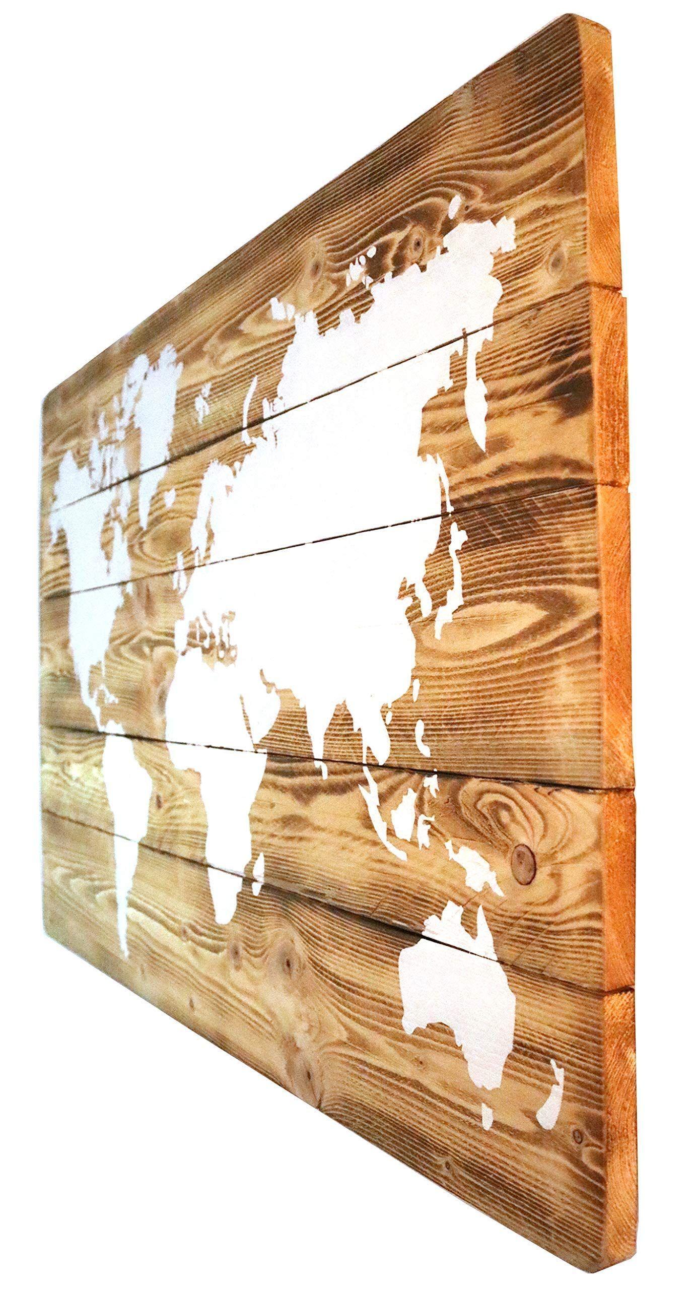 Weltkarte Auf Holz Mit Led Beleuchtung Optional Wandbild Handgefertigt Rustikal Wei E Kreidefarbe L Ndlich Stimmungsli Vintage Deko Rustikal Weiss Kreidefarbe