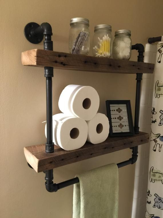 Reclaimed Barn Wood Bathroom Shelves #salledebain