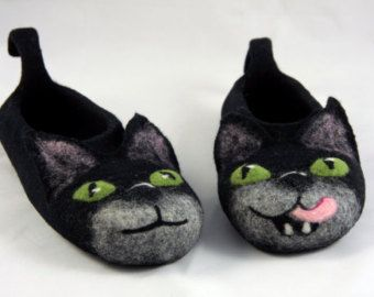 6ca9db2e8ef filtede sorte kat hjemmesko fremstillet på bestilling / HALLOWEEN  håndlavede hus sko / sjove hjemmesko våde filtet kat hjemmesko voksen kat  hjemmesko
