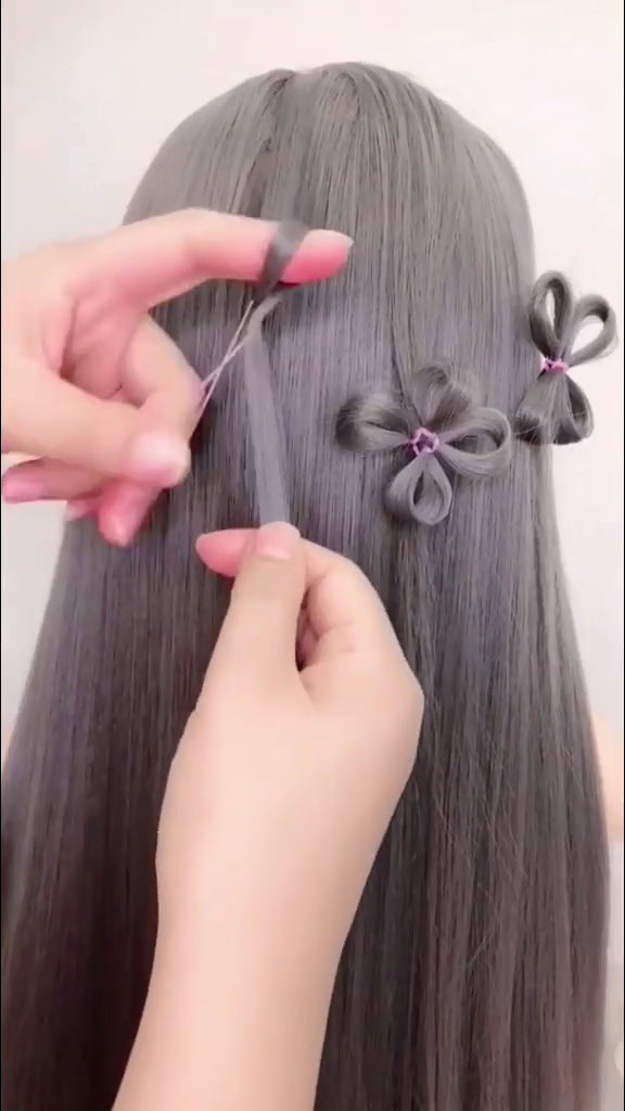 braided hair with flowers